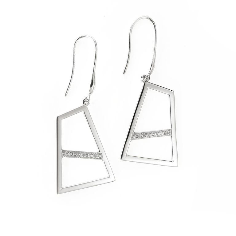 Lattice Double Drop Earring with Sapphires - rhodium