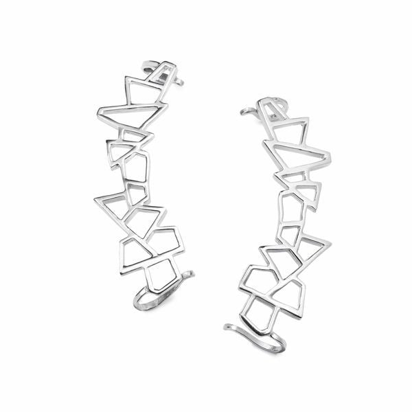 Lattice Ear Cuff - rhodium