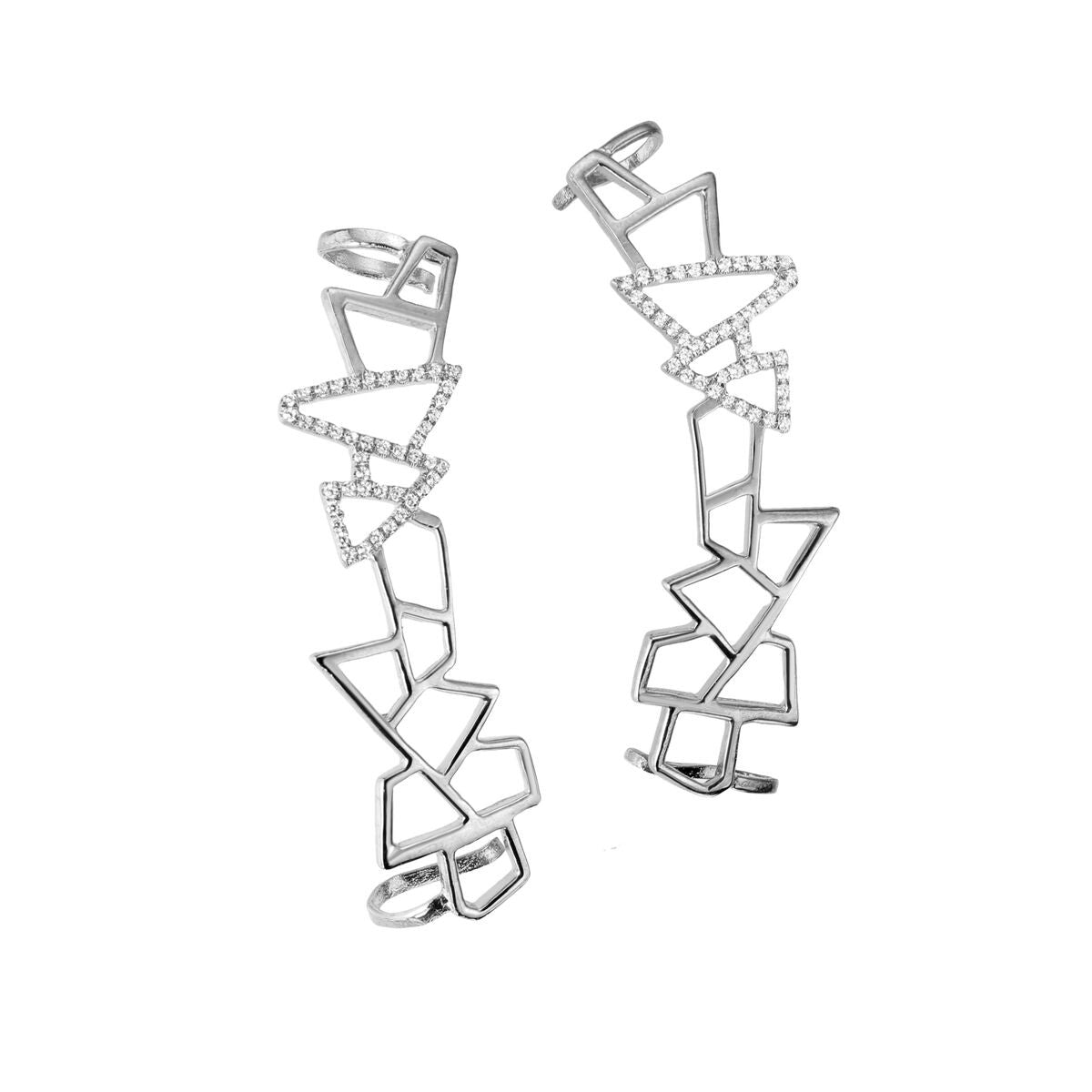 Lattice Ear Cuff - White Sapphires