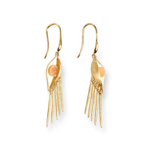 Mantra Eye Drop Earrings with Druzy - gold