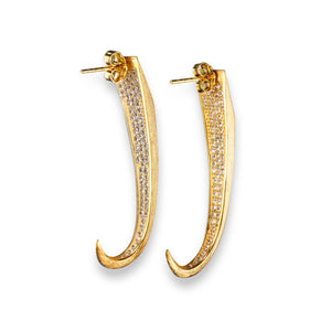 Mantra Large Dagger Drop Earrings with Swarovski Crystals - gold