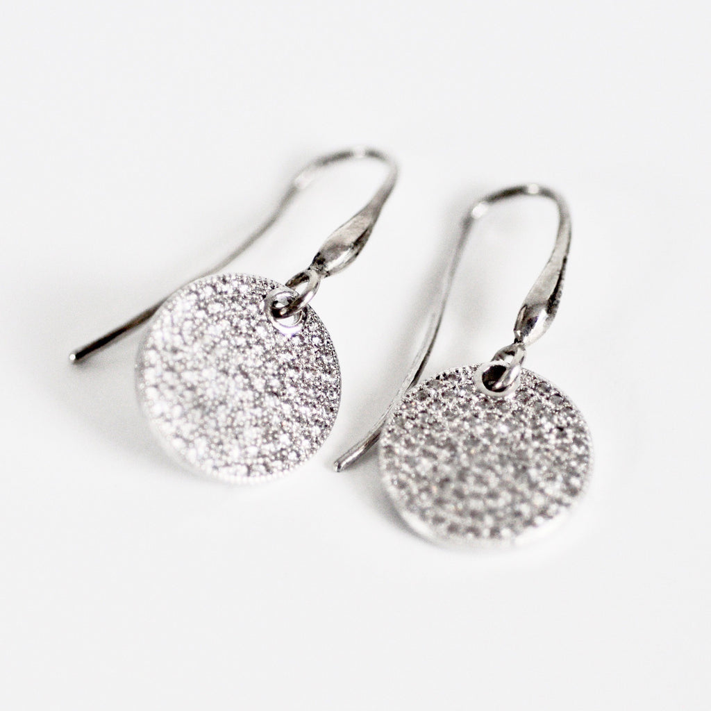 Earrings - Little Jewels - Disk Earrings With Crystals