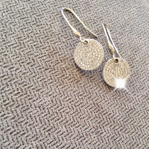 Little Jewels - Disk Earrings With Crystals on herringbone background