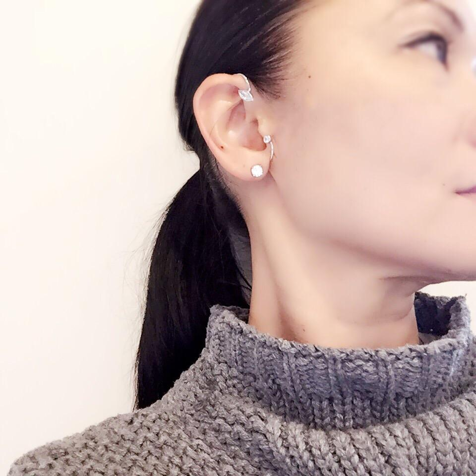 woman in grey sweater wearing Little Jewels - Marquise And Solitaire Earcuff With Swarovski Crystals