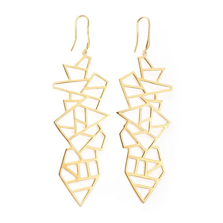 Lattice Long Multi Lattice Drop Earring - gold