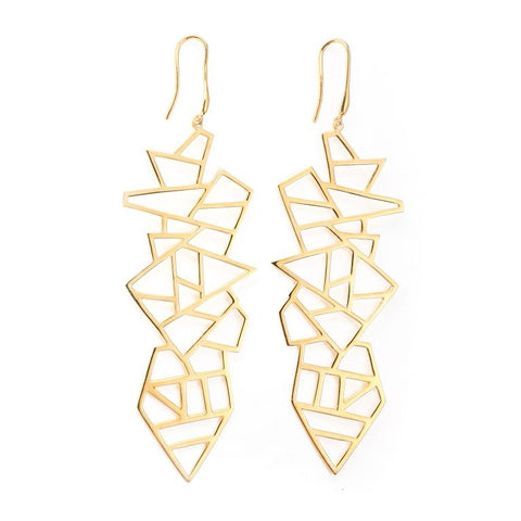 Long Multi Lattice Drop Earring