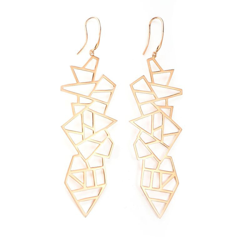 Lattice Long Multi Lattice Drop Earring - rose gold