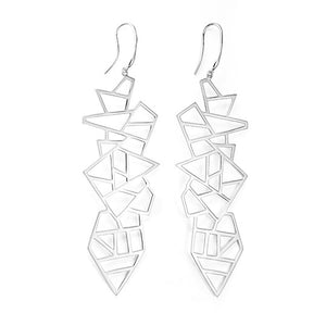 Lattice Long Multi Lattice Drop Earring - rhodium