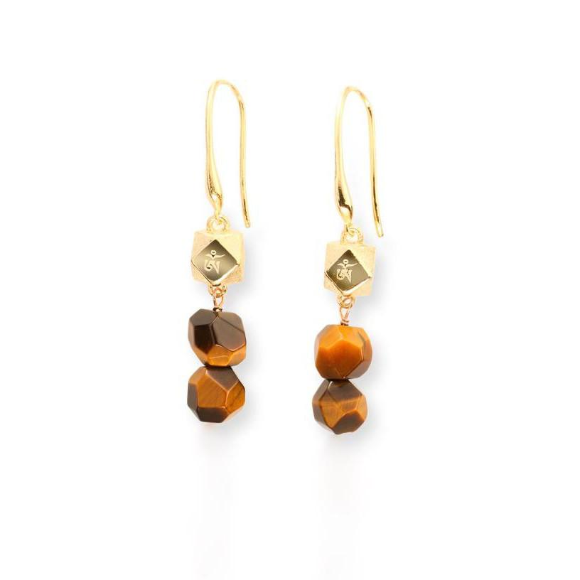 Earrings - Mantra Cube Drop Earrings With Natural Stones
