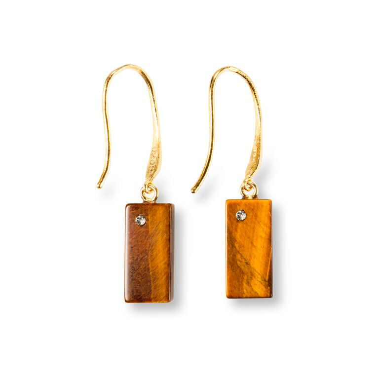 Mantra Rectangular Earring with Swarovski Crystals and Tiger's Eye
