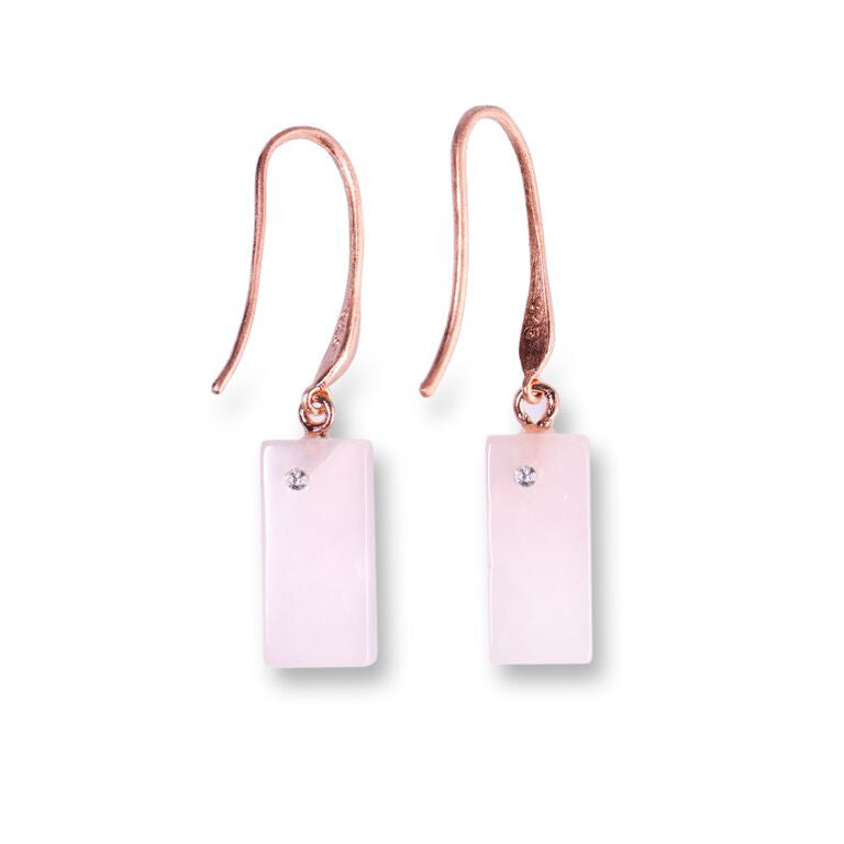 Mantra Rectangular Earring with Swarovski Crystals and Rose Quartz