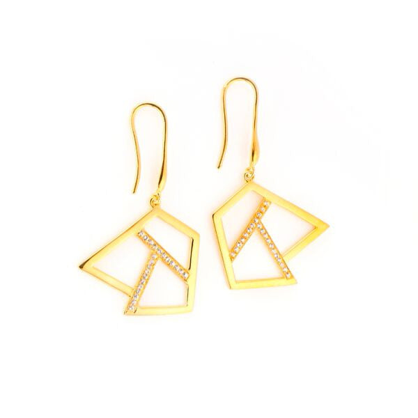 Lattice Triple Lattice Drop Earring with Sapphires, gold