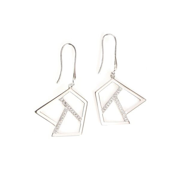 Lattice Triple Lattice Drop Earring with Sapphires, rhodium
