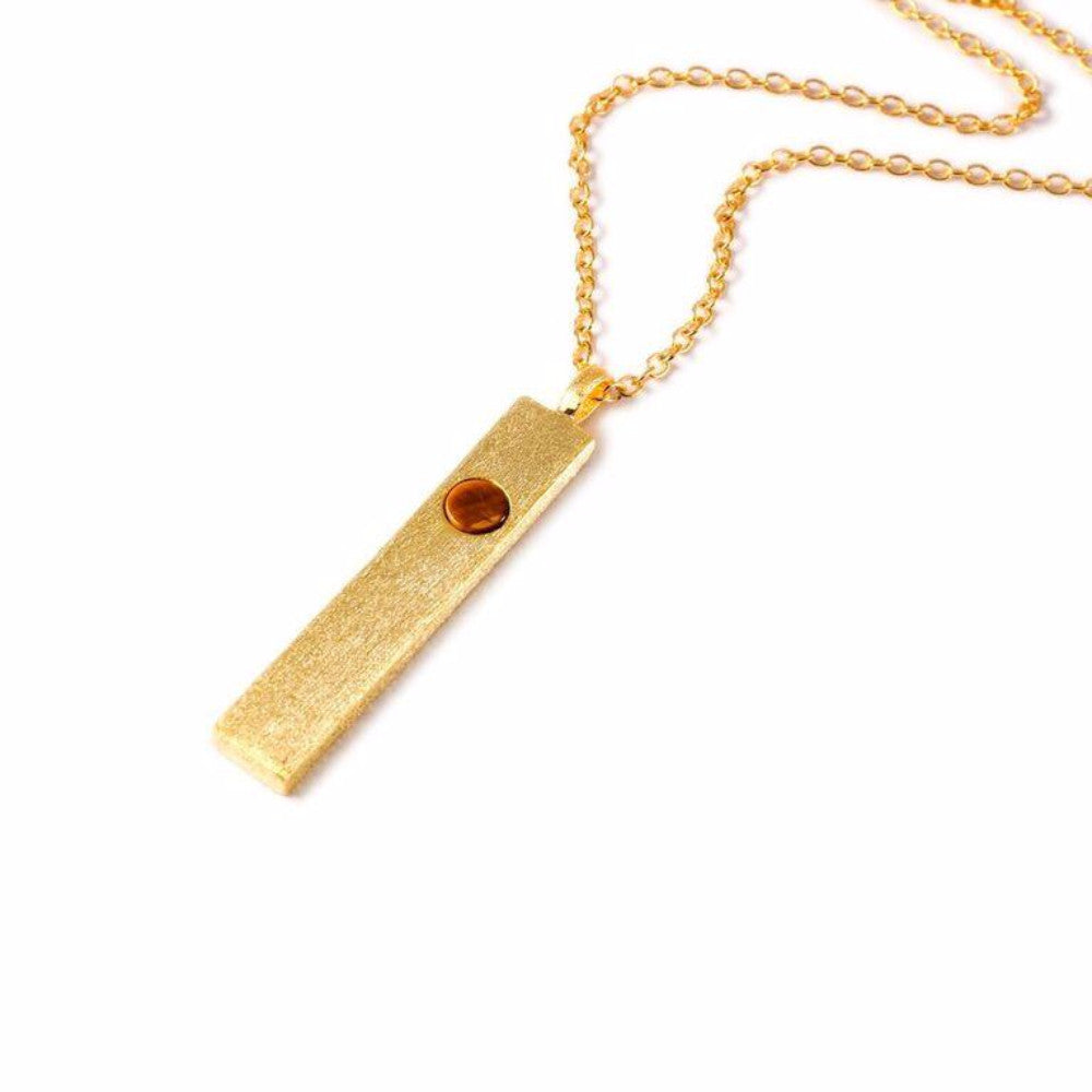 Mantra Necklace - Bar With Single Stone - Tiger's Eye
