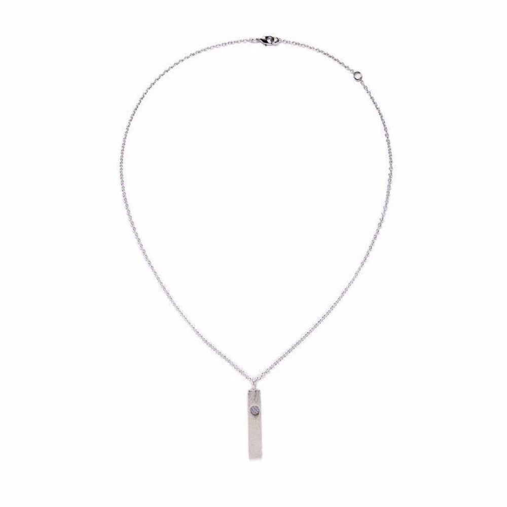 Mantra Necklace - Bar With Single Stone - Blue lace Agate