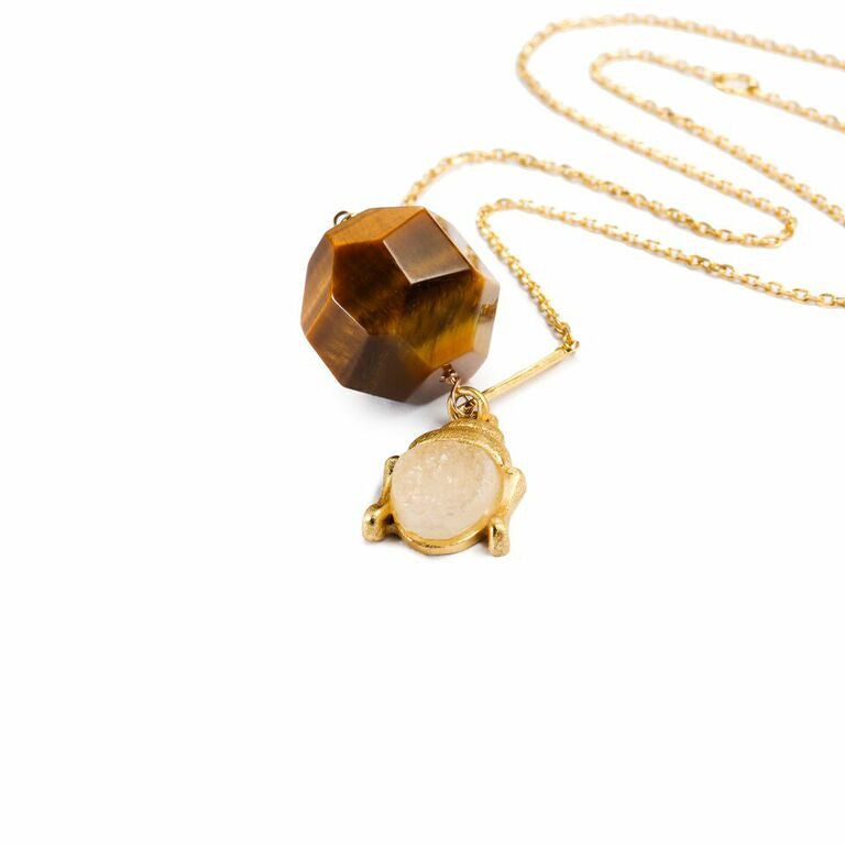 Mantra Buddha with Druzy Necklace - Tiger's Eye