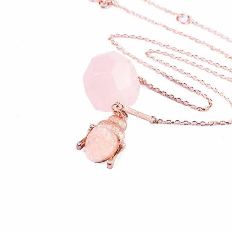Mantra Buddha with Druzy Necklace - Rose Quartz
