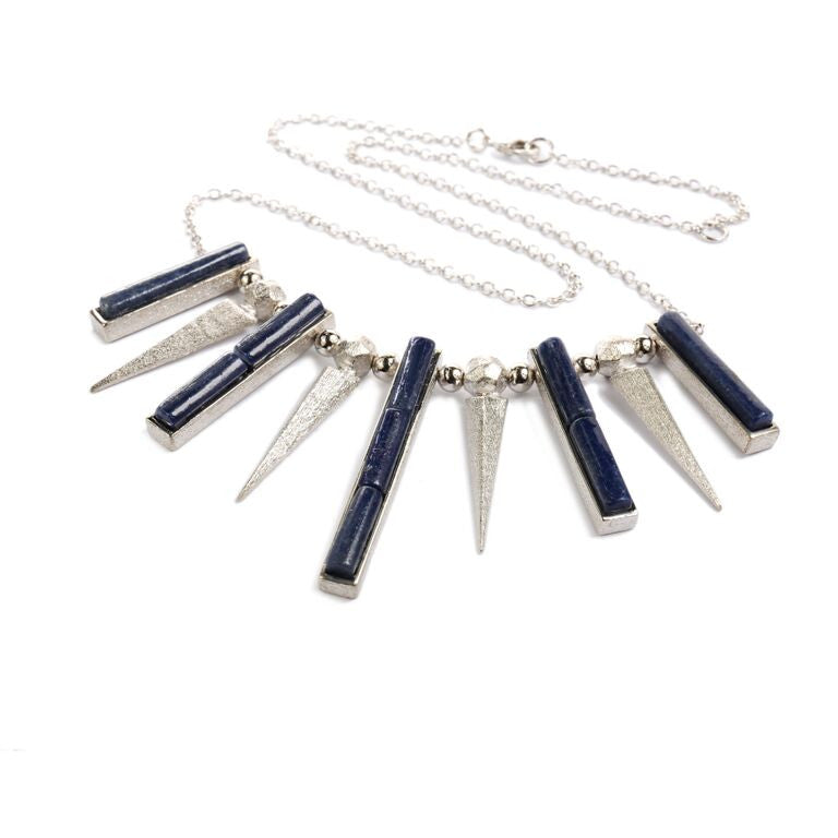 Mantra Dagger and Pendant Necklace - blue quartz