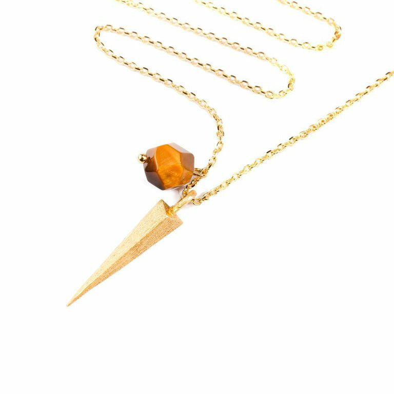 Mantra Dagger and Stone Necklace - tiger's eye