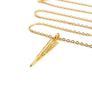 Mantra Dagger Pavee Pendant with Swarovski Crystals - gold