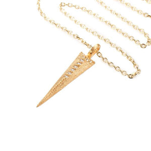 Mantra Dagger Pendant Pavee Edge with Swarovski Crystals - gold