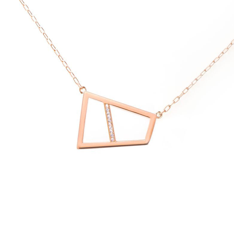 Lattice Double Necklace with Sapphires - rose gold