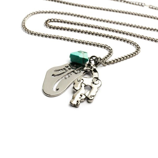 Dragon with Charms Necklace with Natural Stones - Turquoise