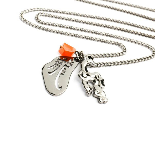 Dragon with Charms Necklace with Natural Stones - Carnelian