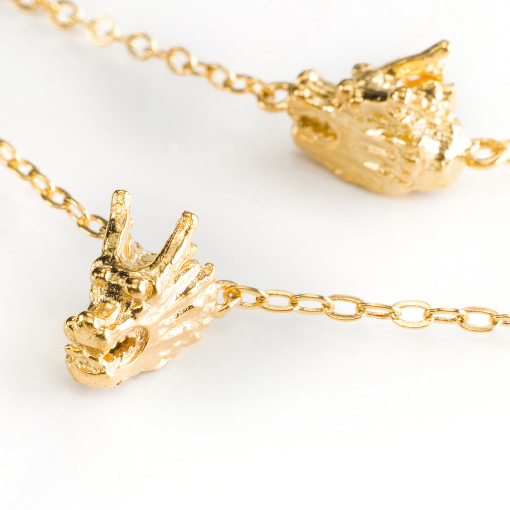 Five Dragon Head Necklace - gold