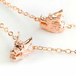 Five Dragon Head Necklace - rose gold