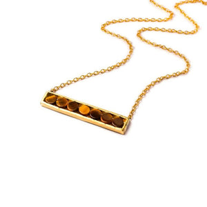 Mantra Horizontal Necklace with Round Stones - tiger's eye