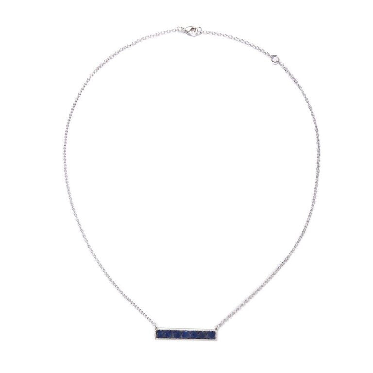 Mantra Horizontal Necklace with Round Stones - blue quartz