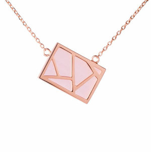 Lattice Necklace - pink cat's eye