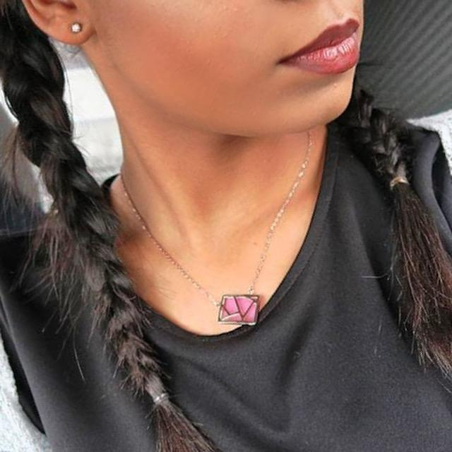 trendy woman in grey wearing pink Lattice Necklace With Resin