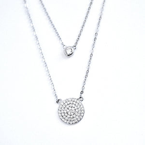 Necklace - Little Jewels - Layered Necklace With Disk And Solitaire Crystals