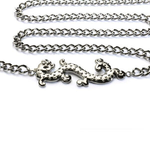 Dragon Side Long Necklace with Black plating