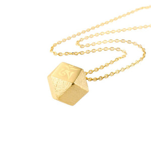 Mantra Cube Necklace Engraved - gold