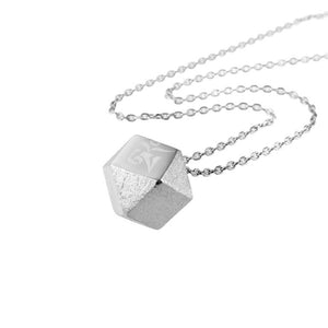 Mantra Cube Necklace Engraved - rhodium