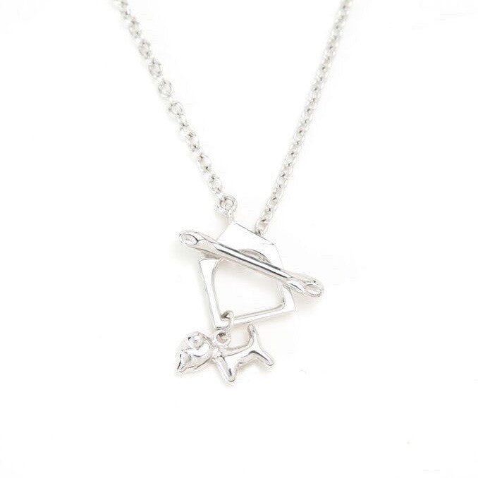 Mimi Too Animal Necklace Sterling Silver, Rhodium Plate - puppy