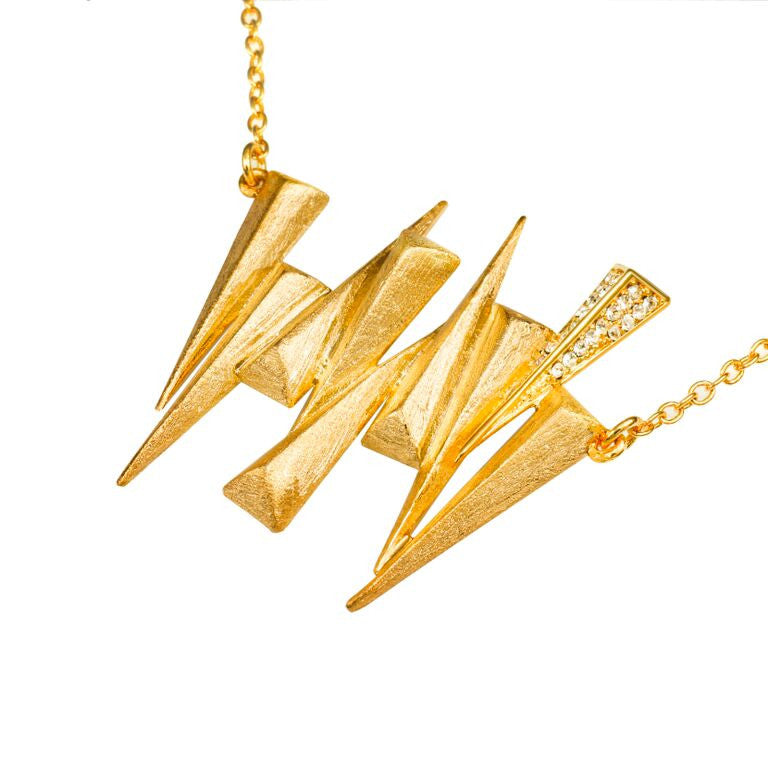 Mantra Nine Daggers Necklace with Swarovski Crystals and gold