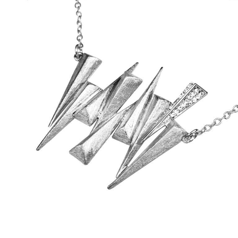 Mantra Nine Daggers Necklace with Swarovski Crystals and rhodium