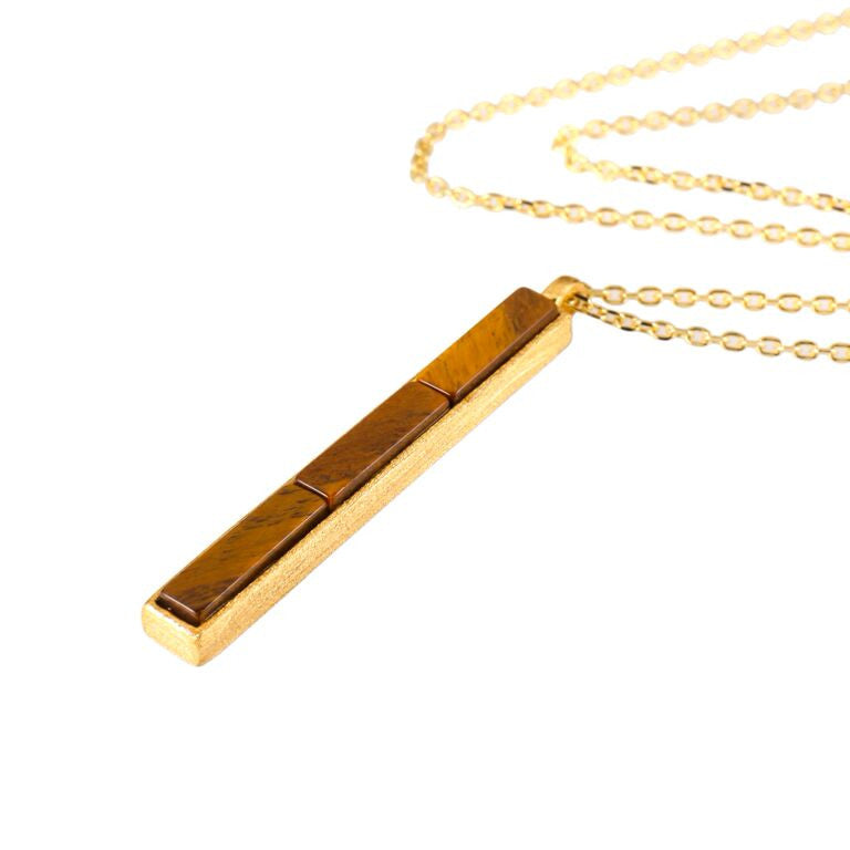 Mantra Rectangle Pendant Necklace with tiger's eye