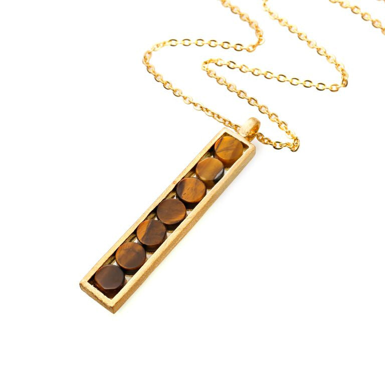 Mantra Rectangle Pendant with tiger's eye Necklace