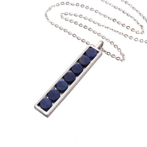 Mantra Rectangle Pendant with blue quartz Necklace
