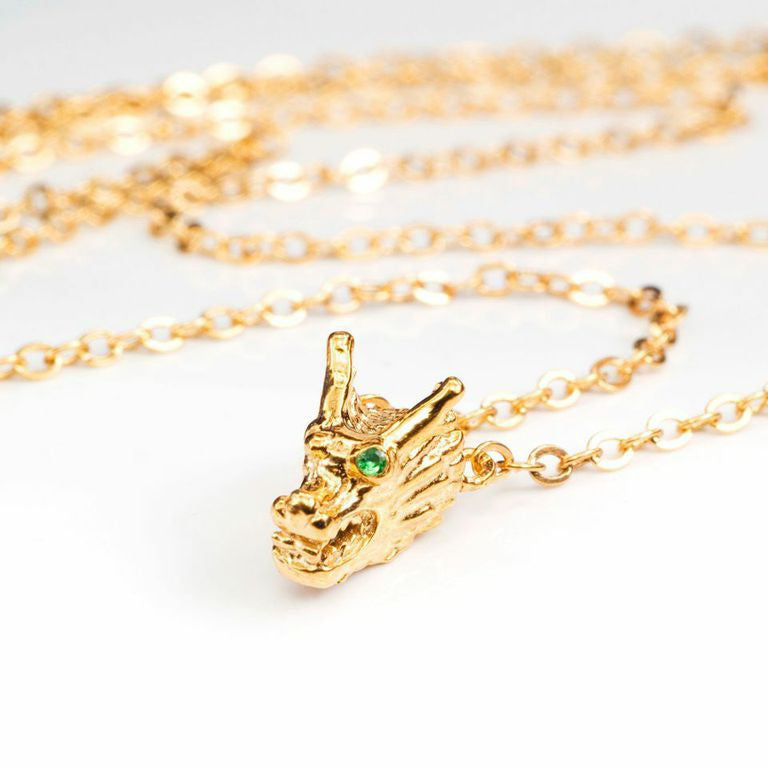 Dragon Single Head Necklace with Green Garnet