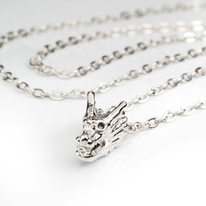 Dragon Single Head Necklace with Black Diamond