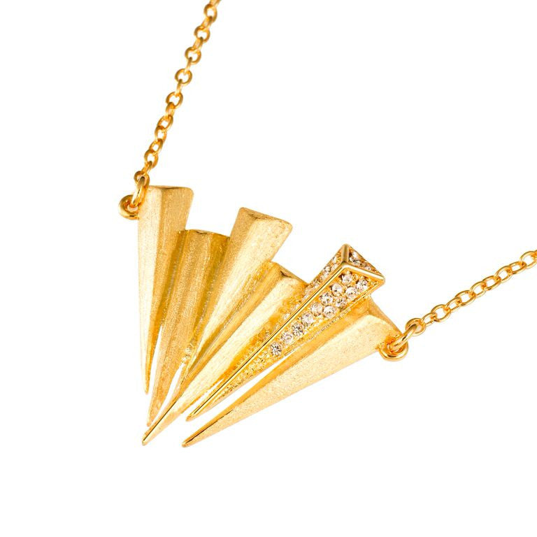 Mantra Six Dagger Necklace - gold with Swarovski crystals