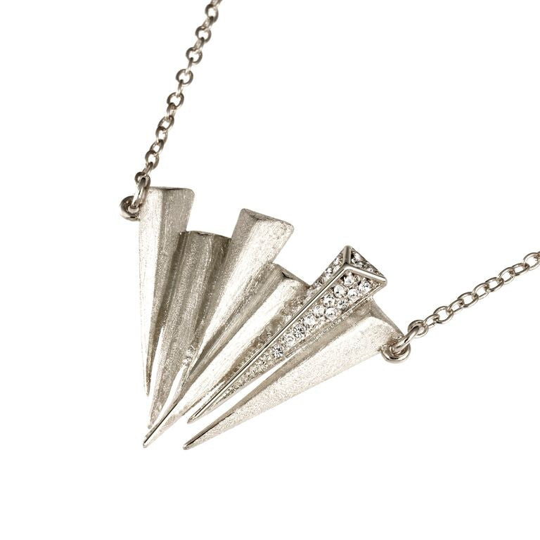 Mantra Six Dagger Necklace - rhodium with Swarovski Crystals