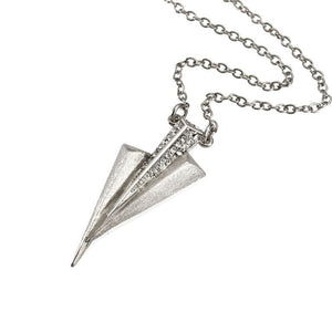 Mantra Three Daggers Necklace - Swarovski Crystals - rhodium