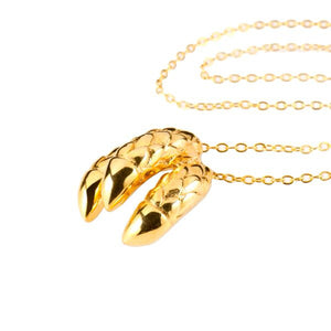 Dragon Triple Claw Necklace - gold plate